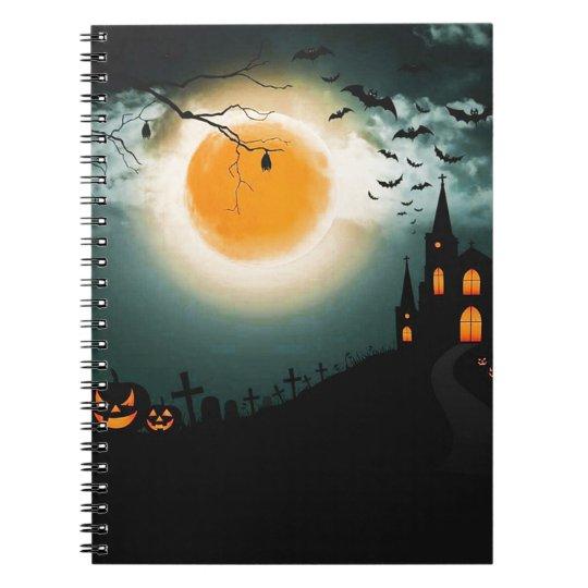 Halloween landscape spiral notebook