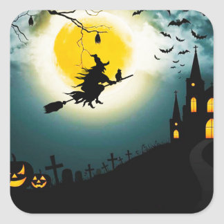 Halloween landscape square sticker