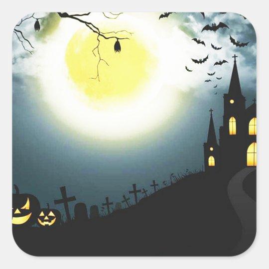 Halloween landscape square sticker