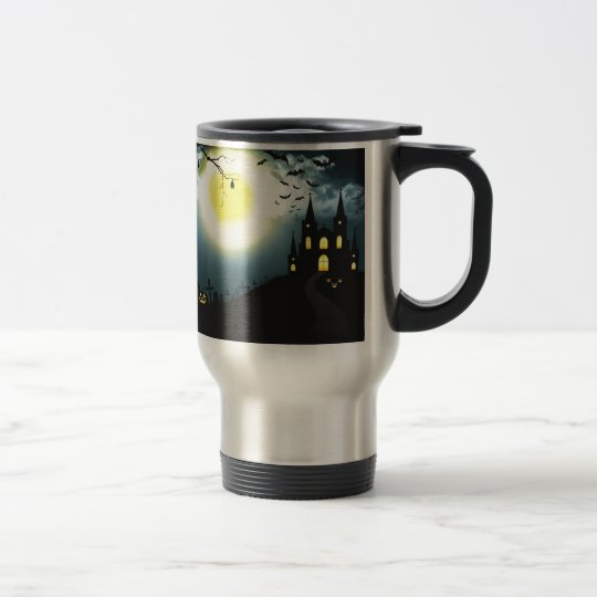Halloween landscape travel mug
