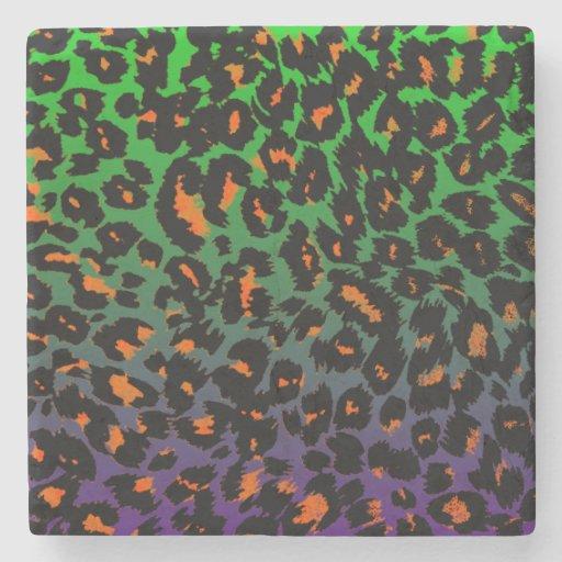 Halloween Leopard Print Fade Pattern Stone Beverage Coaster