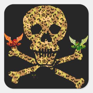 Halloween Leopard Skull Square Sticker