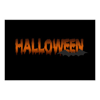 Halloween lettering bat posters