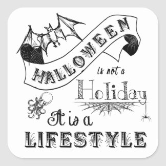 Halloween Lifestyle Chalk Art Square Sticker