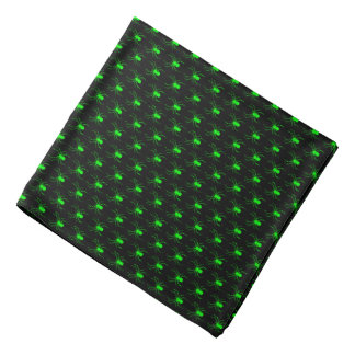 Halloween Lime Green Spiders on Black Bandana