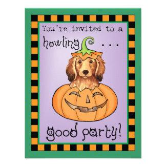 Halloween Longhaired Dachshund Custom Invitations