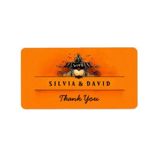 Halloween Love - Orange & Black Thank You Label Address Label
