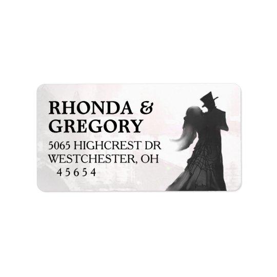 Halloween Lovers Silhouette Matching Wedding Label