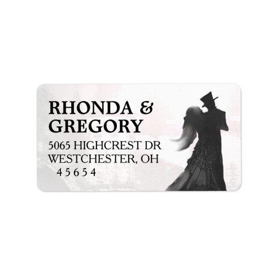 Halloween Lovers Silhouette Matching Wedding Label Address Label