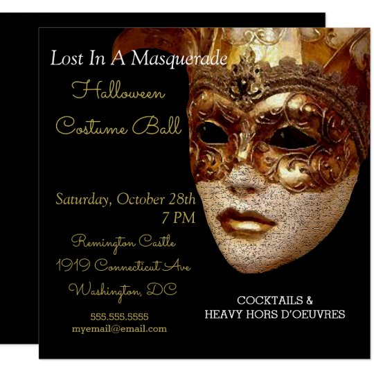 Halloween Masquerade Costume Party Invitation