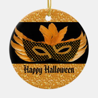 Halloween Masquerade Orange Glitter Round Ceramic Decoration