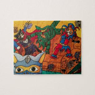 Halloween Mediaeval Knight Costume Cats Jigsaw Puzzle