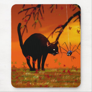 Halloween Meeting - Black Cat and Spider Mouse Pads