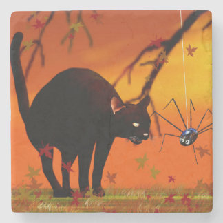 Halloween Meeting - Black Cat and Spider Stone Coaster