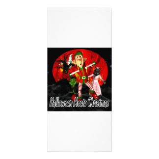 Halloween meets Christmas, elf running away Rack Card