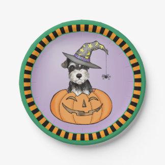 Halloween Miniature Schnauzer Paper Plate