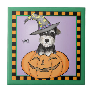 Halloween Miniature Schnauzer Tile