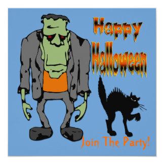 "Halloween Monster - Black Cat Invitation 5.25"" Square Invitation Card"