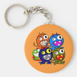 Halloween Monster Friends Basic Round Button Key Ring