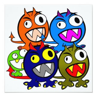 Halloween Monster Friends 5.25x5.25 Square Paper Invitation Card