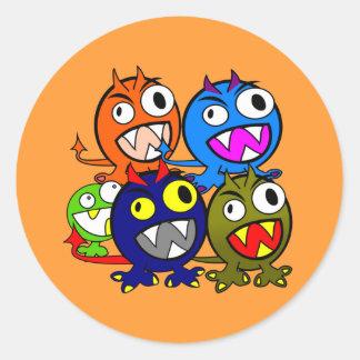 Halloween Monster Friends Round Sticker