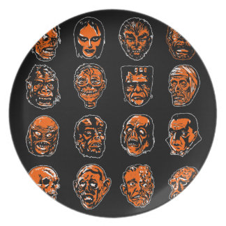 Halloween Monster Masks Plates