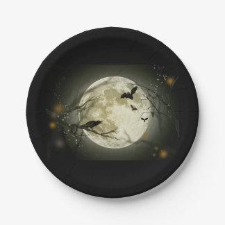 Halloween moon 7 inch paper plate