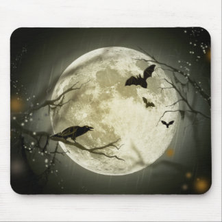 Halloween moon - full moon illustration mouse pad