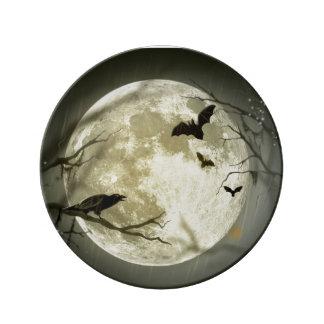 Halloween Moon Porcelain Plates