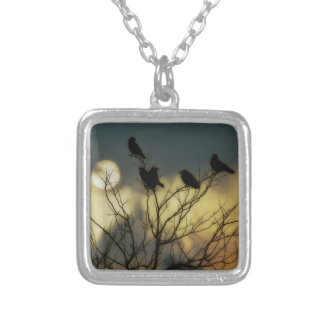 Halloween Moon Silver Plated Necklace