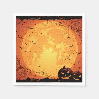 Halloween moon, spider webs, bats, pumpkins disposable serviettes