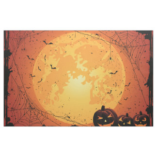 Halloween moon, spider webs, bats, pumpkins fabric