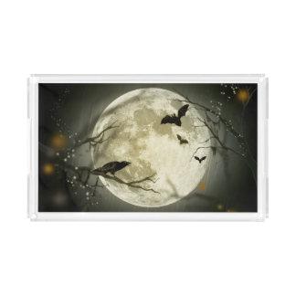 Halloween Moon Spooky Crows Acrylic Tray