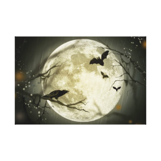 Halloween Moon Spooky Crows Canvas Print