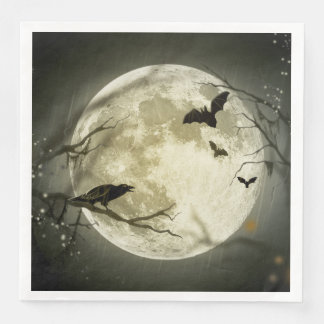 Halloween Moon Spooky Crows Disposable Napkins