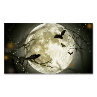 Halloween Moon Spooky Crows Magnetic Business Card