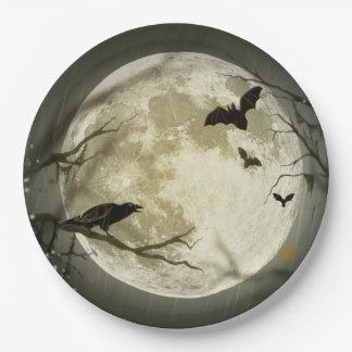Halloween Moon Spooky Crows Paper Plate