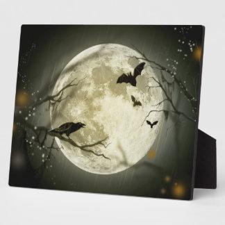 Halloween Moon Spooky Crows Plaque