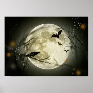 Halloween Moon Spooky Crows Poster