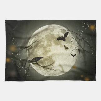 Halloween Moon Spooky Crows Tea Towel