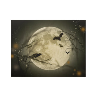 Halloween Moon Spooky Crows Wood Poster