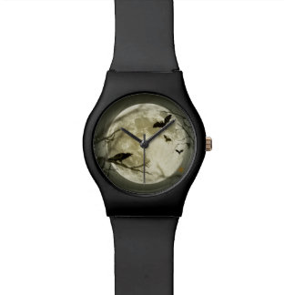 Halloween Moon Spooky Crows Wrist Watches