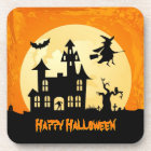Halloween Moonlight Haunted House in Graveyard Coaster