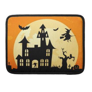Halloween Moonlight Haunted House in Graveyard Sleeve For MacBook Pro