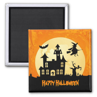Halloween Moonlight Haunted House in Graveyard Square Magnet