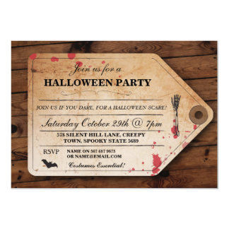 Halloween Morgue Toe Tag Ticket Fun Party Invite