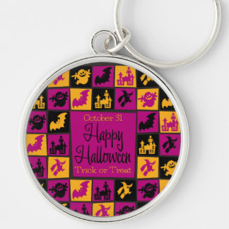 Halloween mosaic Silver-Colored round key ring