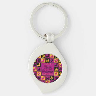 Halloween mosaic Silver-Colored swirl key ring