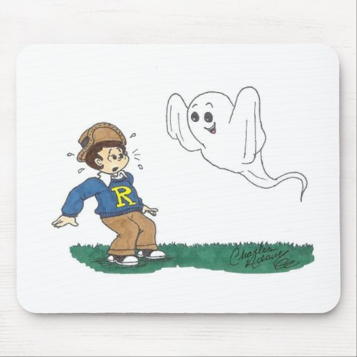 Halloween Mouse Pad Quot Ghost Scaring Boy Quot Zazzle