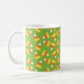 Halloween Mug, Candy Corn Pattern, Green & Orange Coffee Mug